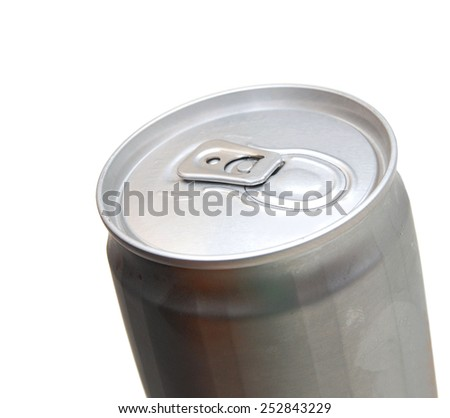 beer can with water drops isolated on white  - stock photo