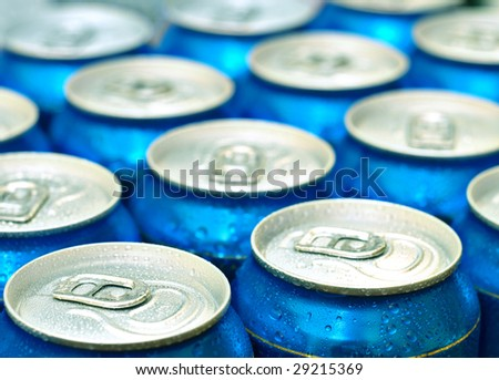 Beer cans Fresh from the fridge - stock photo