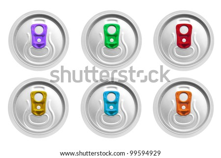 beer cans isolated top view - stock photo