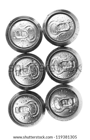 beer cans on white background, view from the top - stock photo