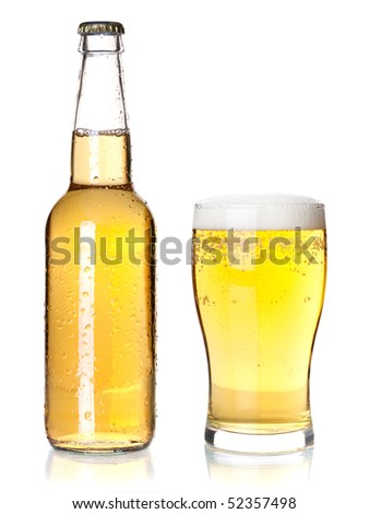 Beer collection - Bottle and glass with lager beer. Isolated on white background - stock photo