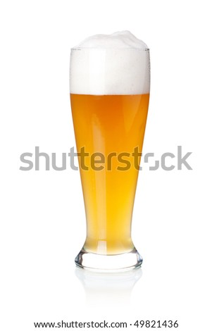 Beer collection - Cold white beer in glass. Isolated on white background - stock photo