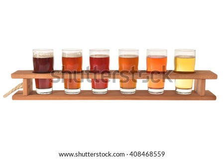 beer crate with many different beers, isolated on white - stock photo