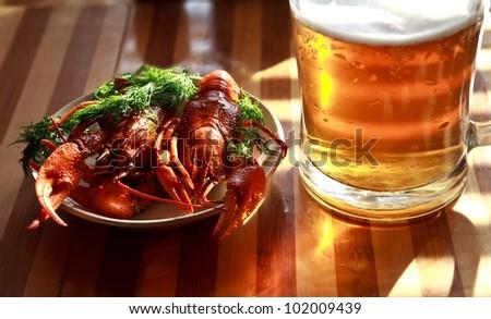 beer crayfish - stock photo