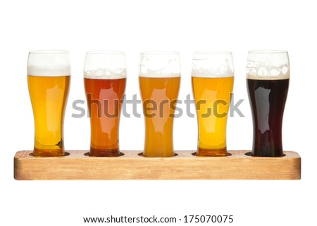 Beer Flight. different kinds of beer - stock photo