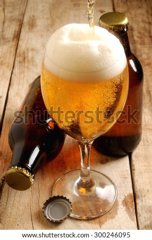 beer fresh sparkling served in cup glass - stock photo
