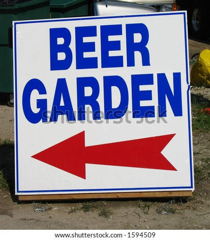 beer garden sign with arrow