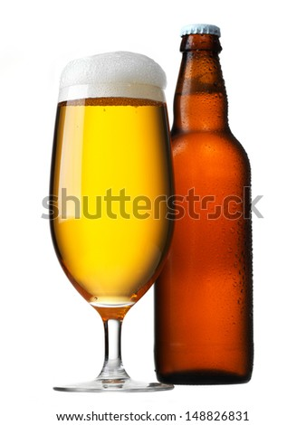 Beer glass and bottle isolated on white
