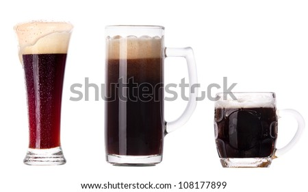 beer glass collection isolated on a white background - stock photo