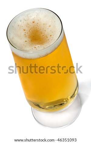 Beer glass isolated in white background - stock photo