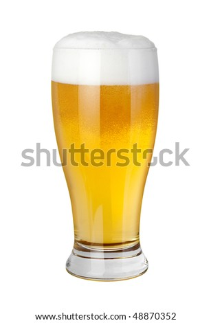 Beer Glass isolated on a white background with a clipping path - stock photo