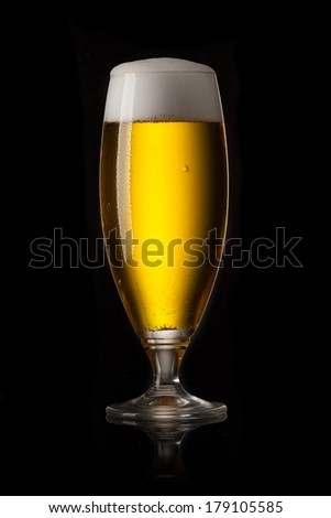beer glass on a black - stock photo