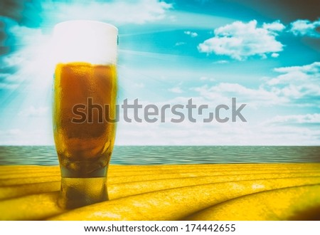Beer glass on beach sunny day, vintage style illustration - stock photo