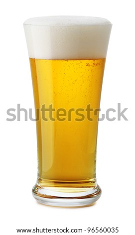 beer glass with a froth on the white background - stock photo