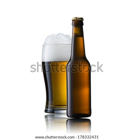 Beer Glass with Beer Bottle