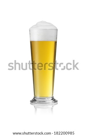 Beer glass with foam crown and dew drops condensing rod pils gold