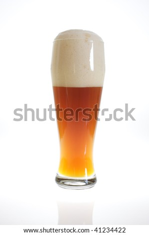 Beer glass with froth in back-light