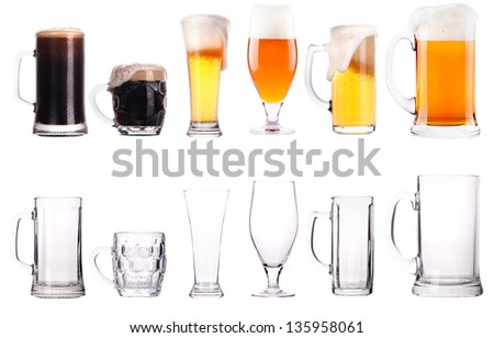 Beer glasses. Part of a collection of glasses and drinks isolated