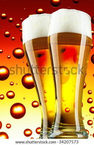 Beer glasses with froth over bubbles background - stock photo