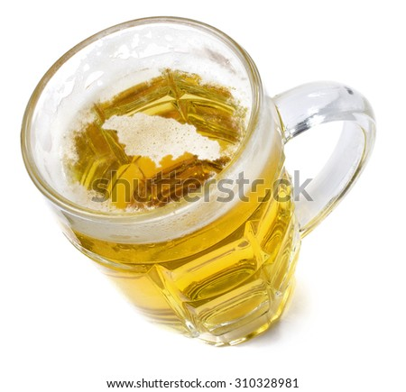 Beer head  in the shaped of Jamaica and a beer.(series) - stock photo
