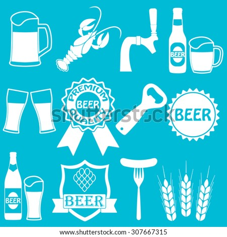 Beer icons set. Drink labels or signs. Symbols and design elements for restaurant, pub or cafe.  - stock photo