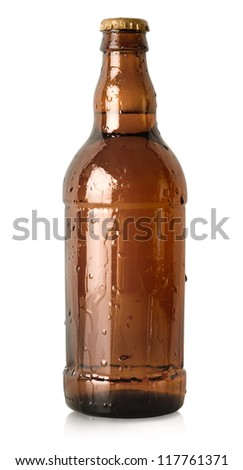 Beer in a brown bottle isolated - stock photo