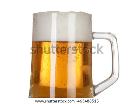 Beer in a glass jar on white background isolated