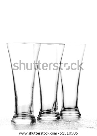 Beer in a glass on a white background