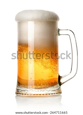 Beer in a mug isolated on a white background - stock photo
