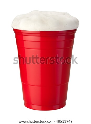 Beer in a Red Plastic Cup isolated on white - stock photo