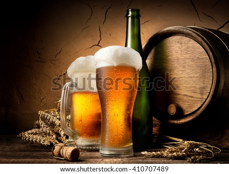 Beer in brewery - stock photo