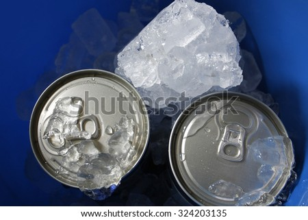 beer in bucket with ice - stock photo