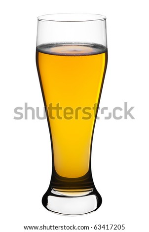 beer in clear glass, isolated on a white background - stock photo