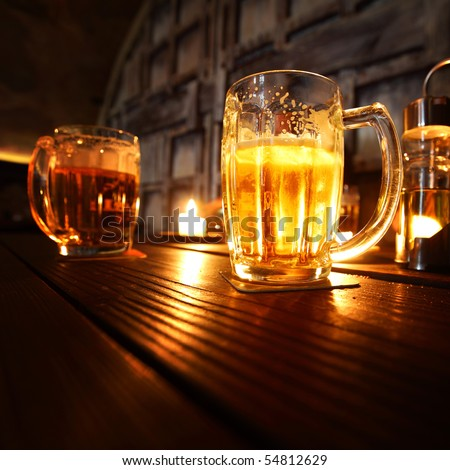 beer in dark room - stock photo