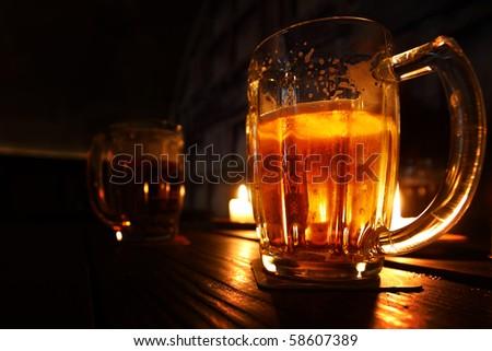 beer in dark room - stock photo