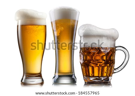 Beer in different glasses isolated on white background - stock photo