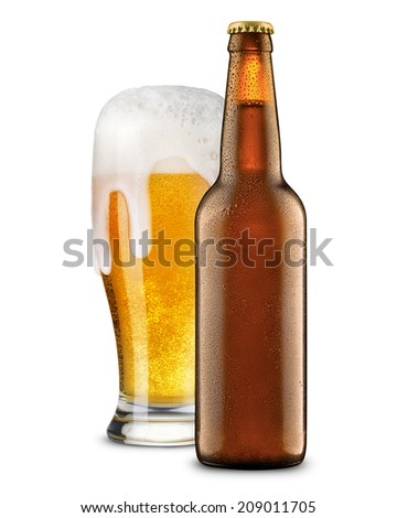 Beer in glass and bottle isolated