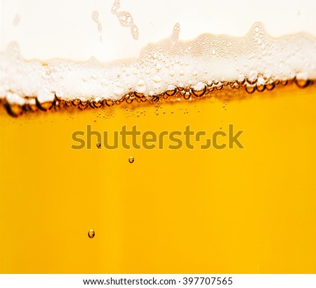 beer in glass, closeup - stock photo