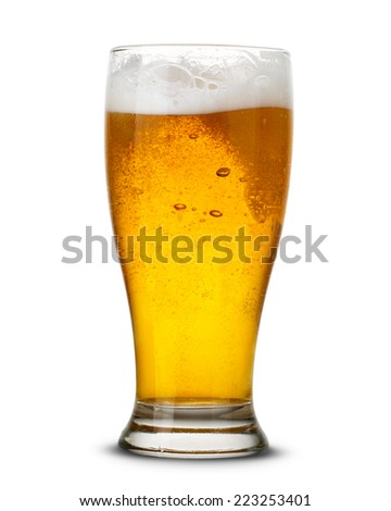 Beer in glass isolated on white  - stock photo