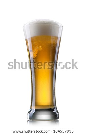 Beer in glass isolated on white background - stock photo