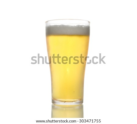 beer in glass, isolated on white background, clipping path