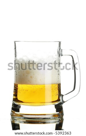 Beer in glass on the white background