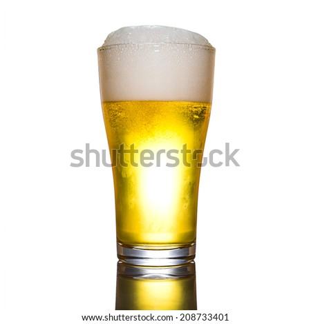 Beer in glass with foamy on white background