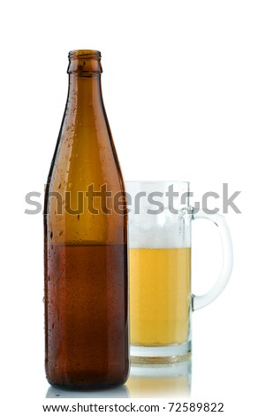 Beer in the big mug on a white background
