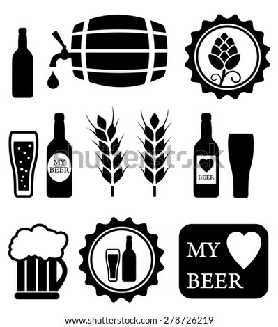 beer isolated objects set on white background - stock photo