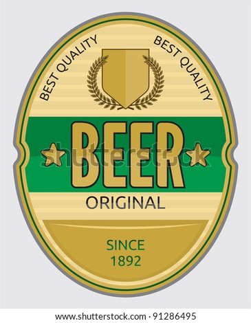 Beer label design. Vector format is also available in my gallery - stock photo