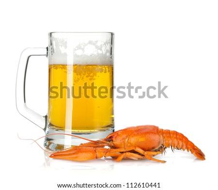 Beer mug and boiled crayfish. Isolated on white background - stock photo