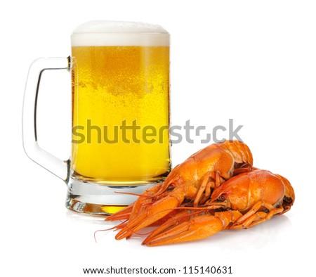 Beer mug and boiled crayfishes. Isolated on white background - stock photo