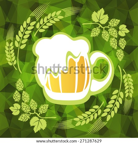 Beer mug and hop on a green polygonal background. - stock photo