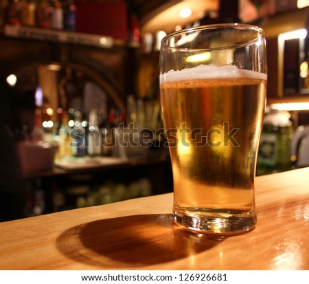 beer mug in a bar - stock photo